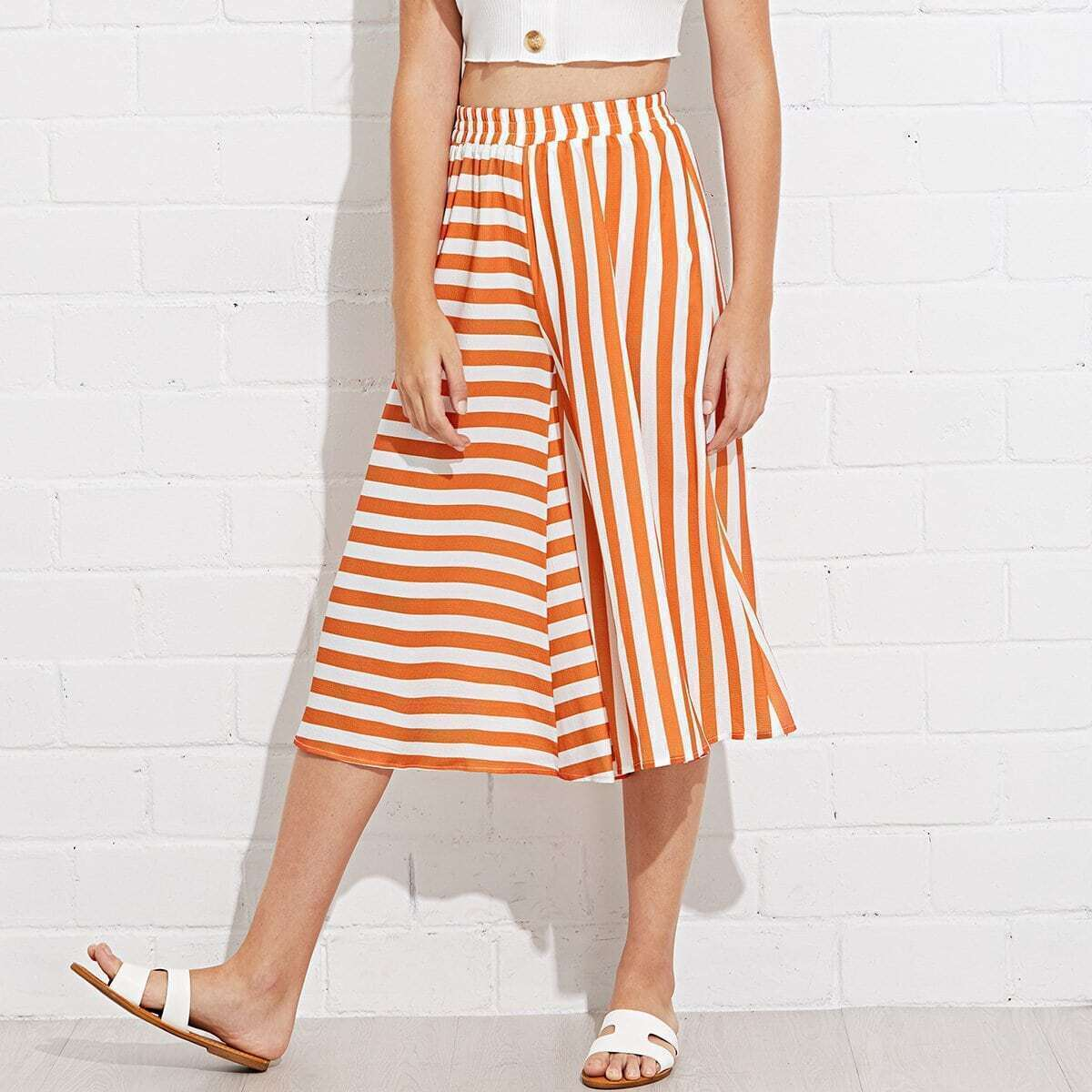 - Mixed Stripe Culotte Pants