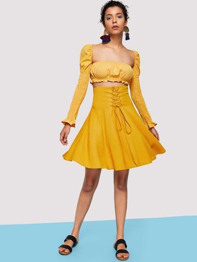 Grommet Lace Up Waist Skirt 936e06f36086
