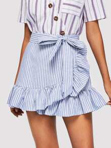 Tie Front Ruffle Trim Striped Skirt