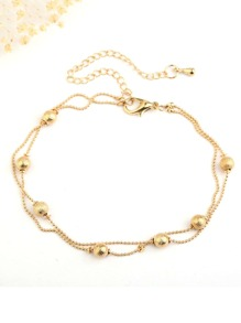 Metal Ball Decorated Layered Chain Anklet