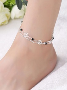 Hollow Round Design Layered Chain Anklet