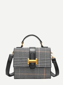 Plaid Detail Metal Shoulder Bag