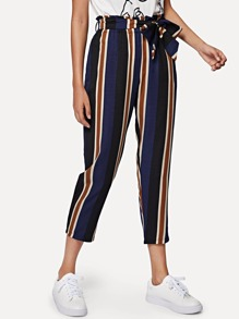 Block-Striped Self Tie Pants