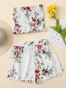 Frill Trim Florals Bandeau Top With Shorts