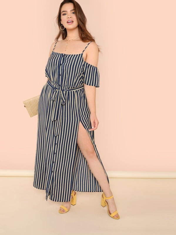 Plus Cold Shoulder Slit Hem Striped Maxi Dress
