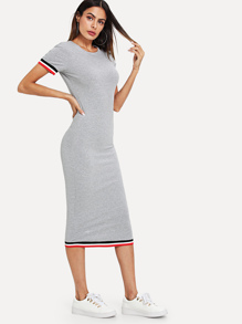 Striped Trim Heathered Midi Dress