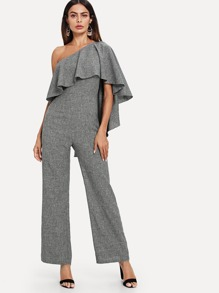 One Shoulder Exaggerate Flounce Jumpsuit