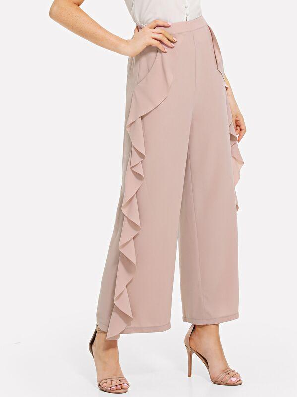 b5672a311d Ruffle Trim Wide Leg Pants | SHEIN