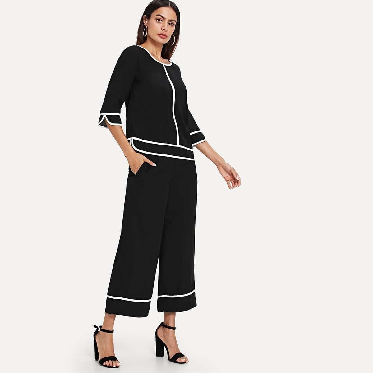 - Contrast Binding Top & Culotte Pants Set