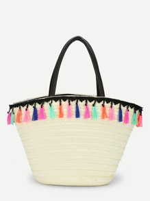 Straw Tote Bag With Tassel Trim