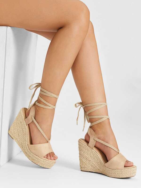 4ea54f6ad86 Peep Toe Lace Up Wedge Sandals