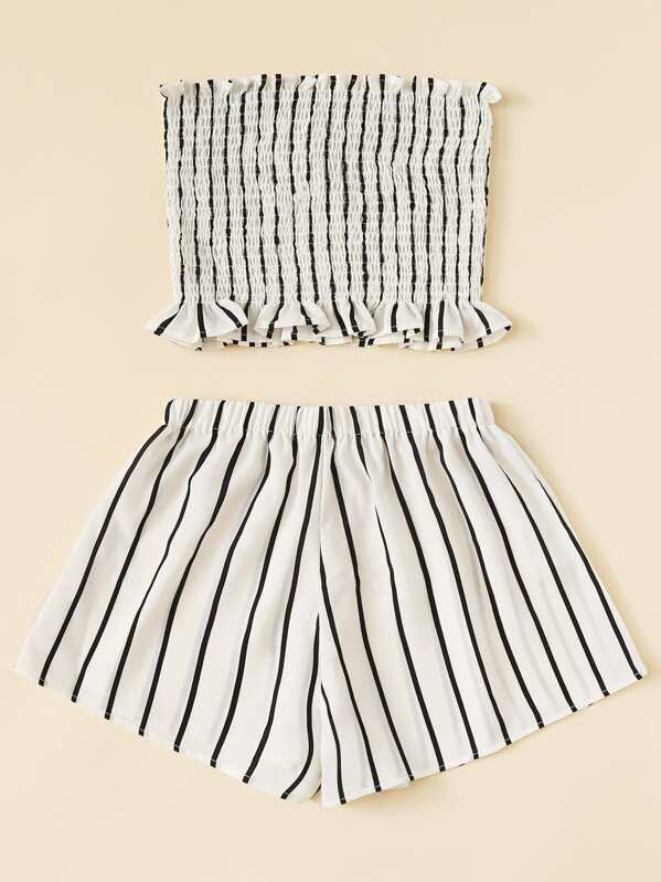 0dc31ee61bb Frill Trim Striped Tube Top With Shorts