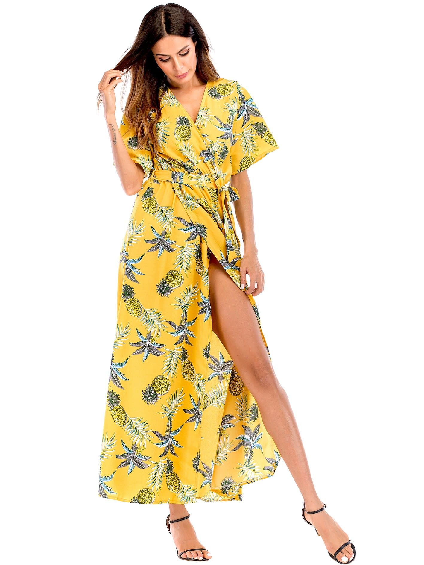 Gelb Mit Gürtel Tropisch Boho Kleider | SHEIN