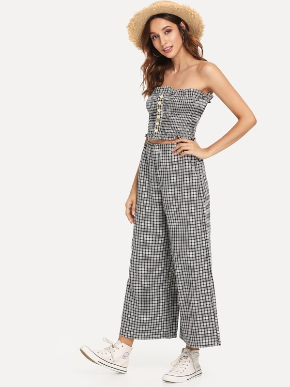 32cc2bbbd8c Frill Trim Checked Tube Top With Pants
