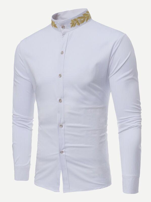 d36a3f00e3 Men Wheat Ears Embroidery Shirt | SHEIN UK