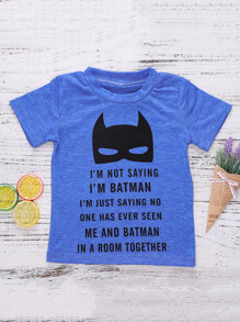 Toddler Boys Letter And Batman Print Tee