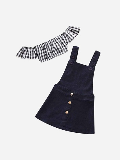 4f5d595728a Toddler Girls Gingham Crop Top With Denim Dungarees Skirt