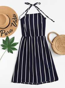 Striped Pleated Back Halter Dress