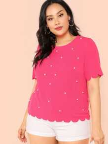 pearl beading scalloped textured top