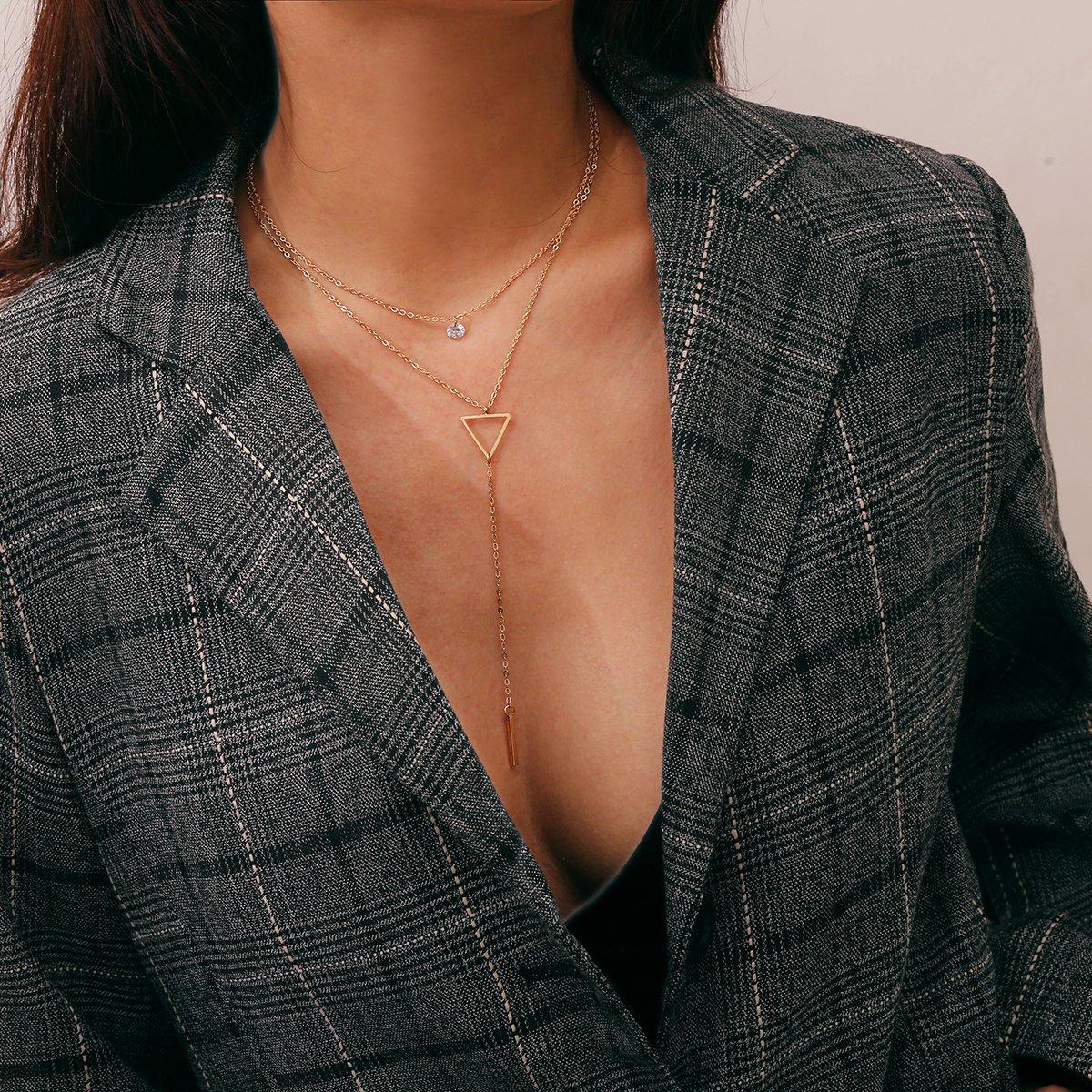 Offene Dreieck Detail Lariats Kette Halskette