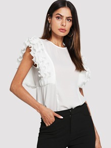Layered Pleated Panel Keyhole Back Top