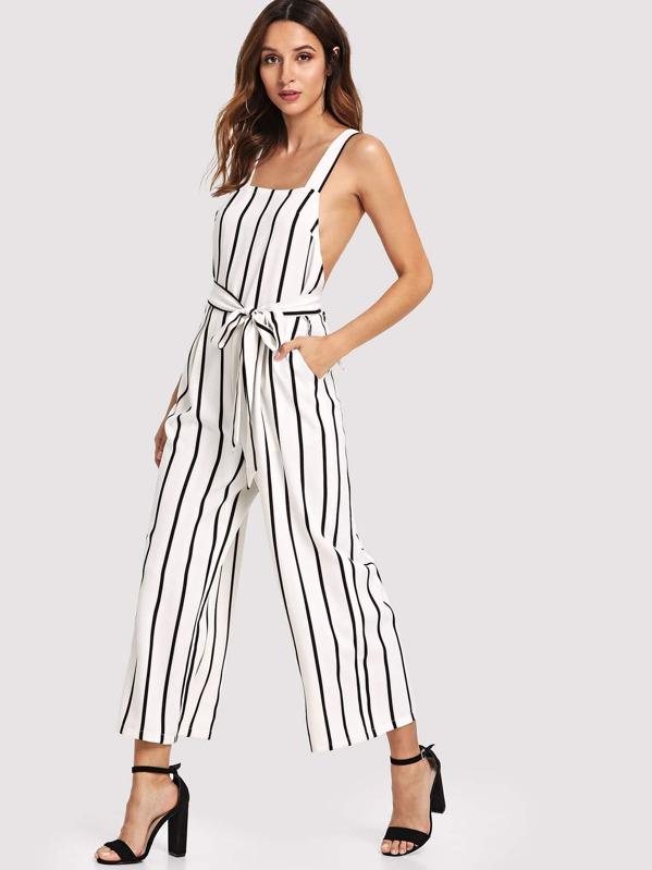 7673e609e2e56 Cheap Crisscross Back Wide Leg Self Belted Striped Jumpsuit for sale  Australia | SHEIN