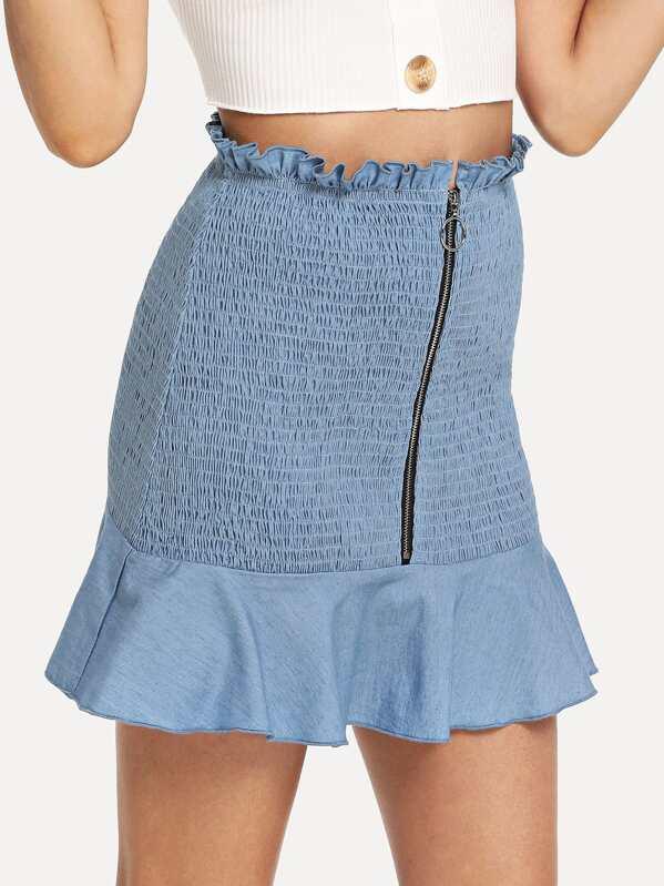 70b01fc877 Cheap O-Ring Zip Front Shirred Panel Ruffle Hem Skirt for sale Australia |  SHEIN