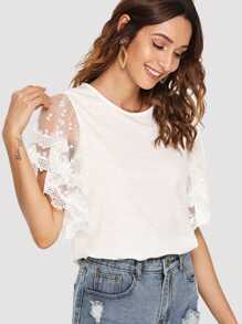 Sheer Lace Sleeve Tee