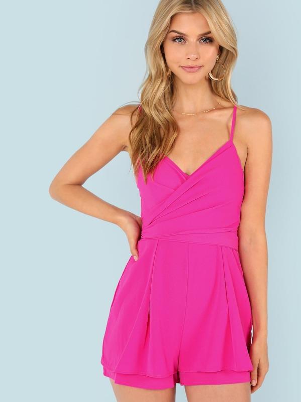 5d60ce38617e57 Neon Pink Wrap Front Box Pleated Cami Romper