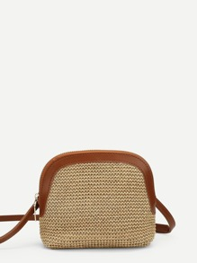 PU Trim Straw Bag