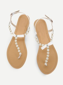 Faux Pearl Flat Sandals With Bow