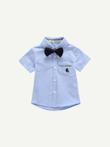 Toddler Boys Tie Neck Plain Blouse