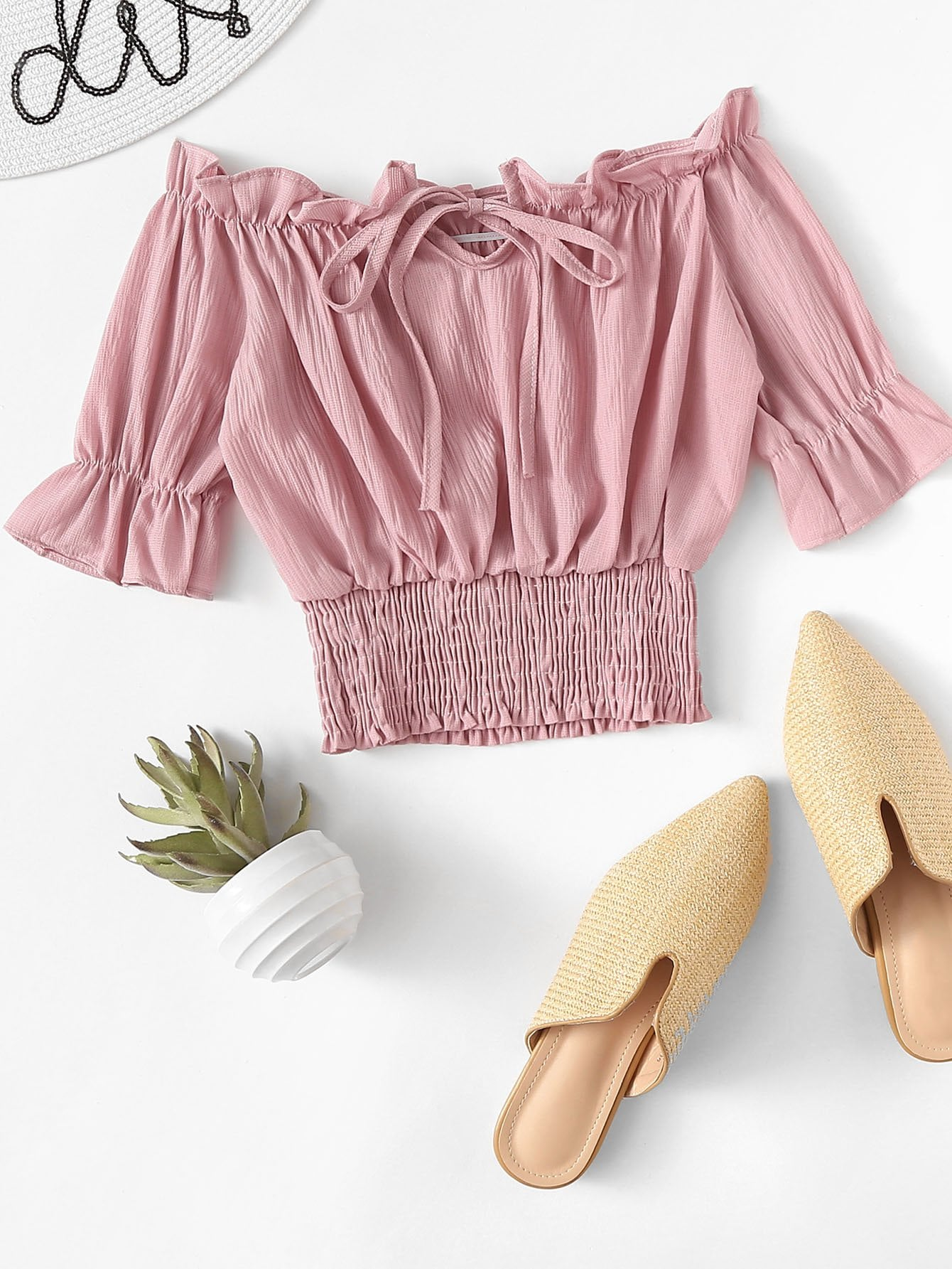 Flounce Sleeve Frill Trim Smocked Blouse by Romwe