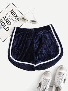 Velvet Striped Tape Side Shorts