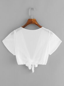 Knot Hem Plunge Sheer Top