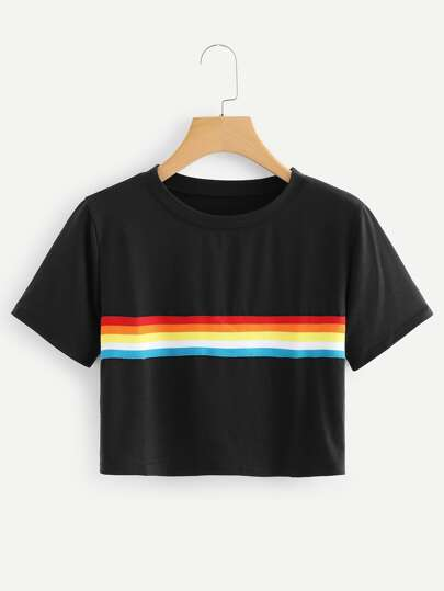 Colorful Striped Crop Tee