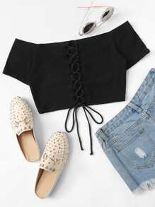 Off Shoulder Lace Up Crop Top