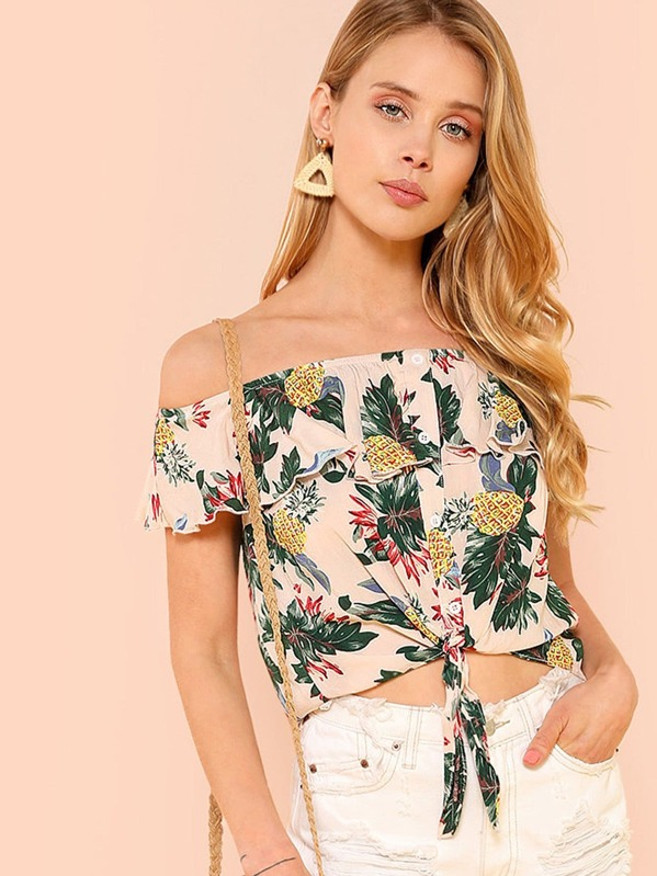 08a130838cb04 Button Up Knot Front Tropical Flounce Bardot Top