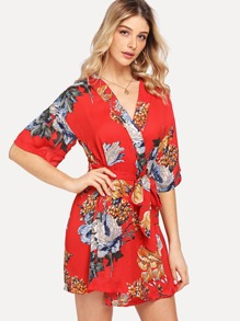 Flower Print Wrap Dress