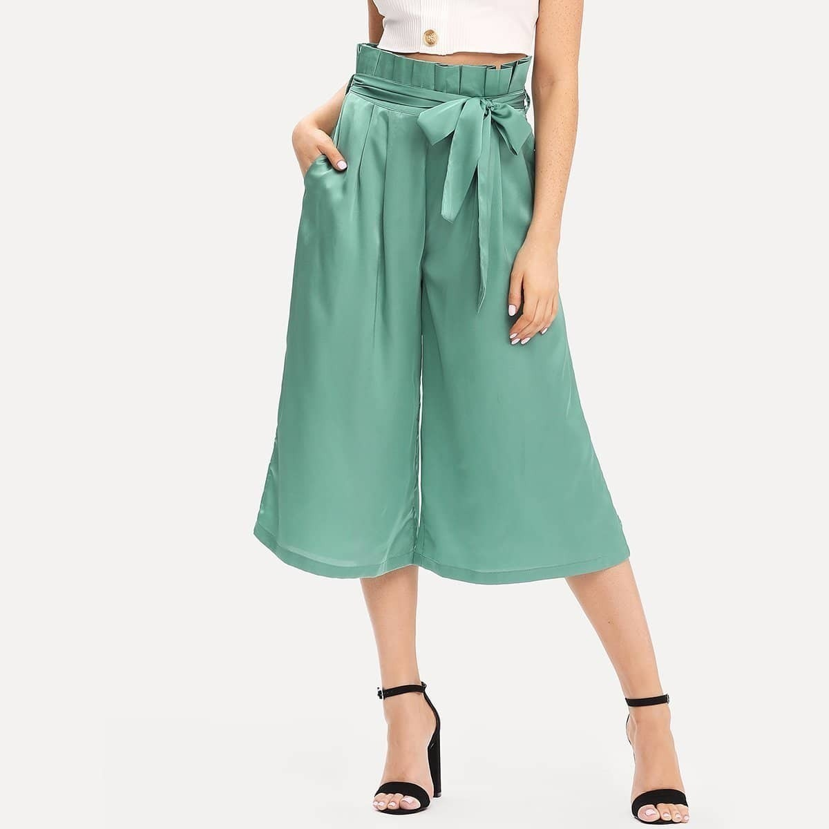 - Pleated Waist Culotte Pants with Belt