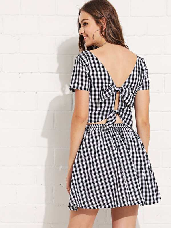 c24ecf7f25a10 Square Neck Gingham Top & Skirt Set | SHEIN