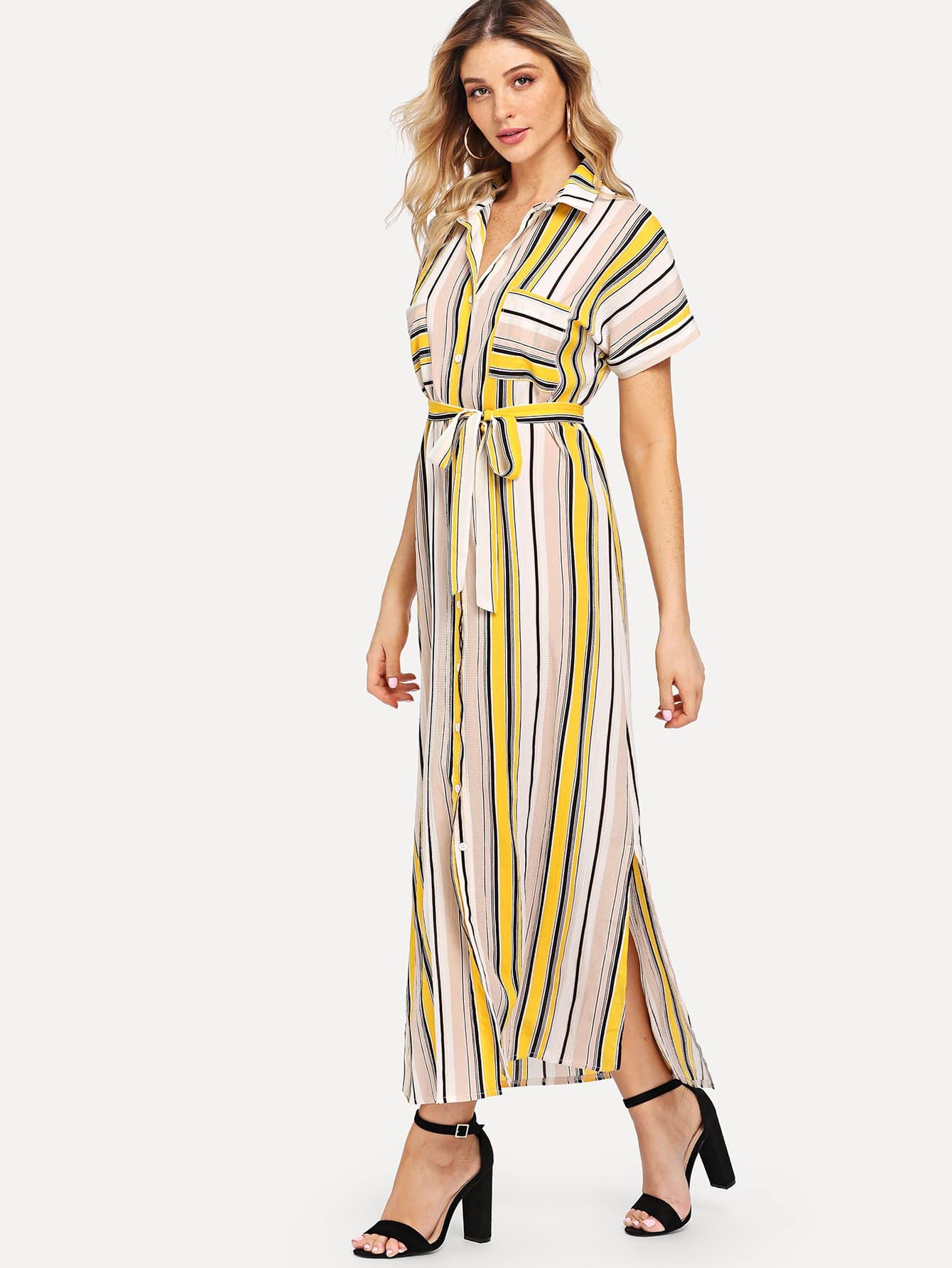 Striped Self Tie Shirt Dress Striped Self Tie Shirt Dress