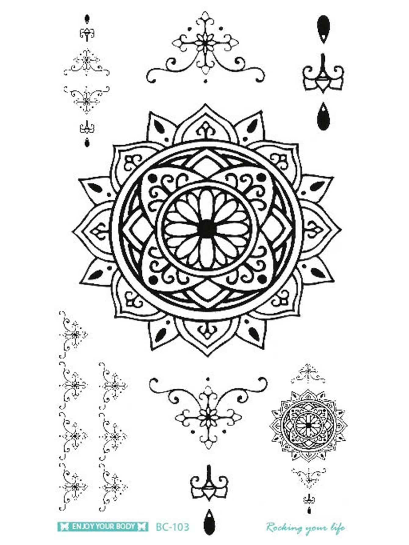 Pegatina Tatuaje Con Patrón De Flor De Loto Spanish Romwe