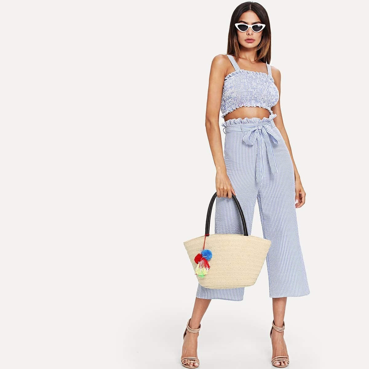 - Shirred Striped Top & Belted Culotte Pants Set