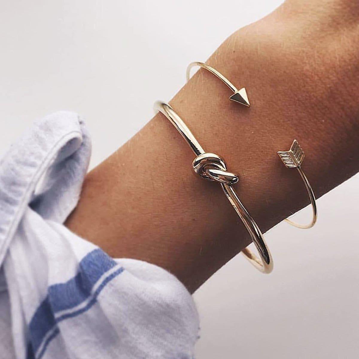 Arrow & Twist Detail Cuff Bracelet Set 2pcs