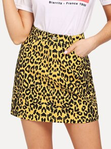 Pocket Front Leopard Print Skirt