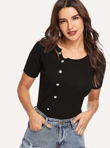 Button Detail Ribbed T-shirt SHEIN