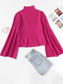 Neon Pink Mock Neck Bell Sleeve Sweater