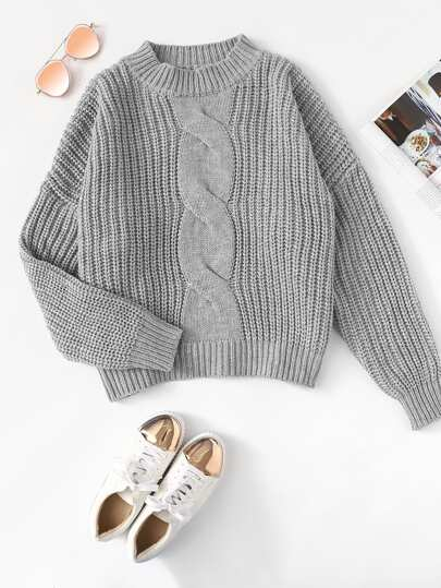 Dropped Shoulder Mixed Knit Sweater