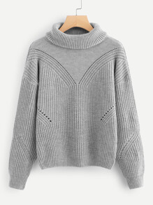 Rolled Up Neck Eyelet Sweater